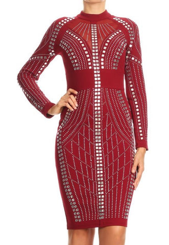 Rhinestone Red Bodycon Dress - Deevasden.com