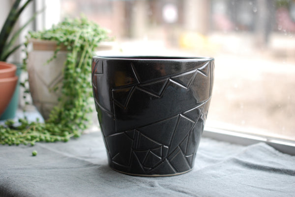 Large Black Geometric planter