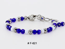 Bracelet Fermoir  # F-621 royal   ( pierre 6mm cristal)
