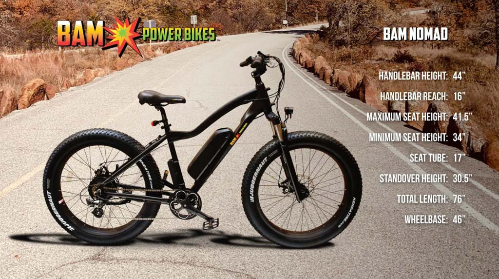 BAM Nomad Electric Mountain Bike Dimensions