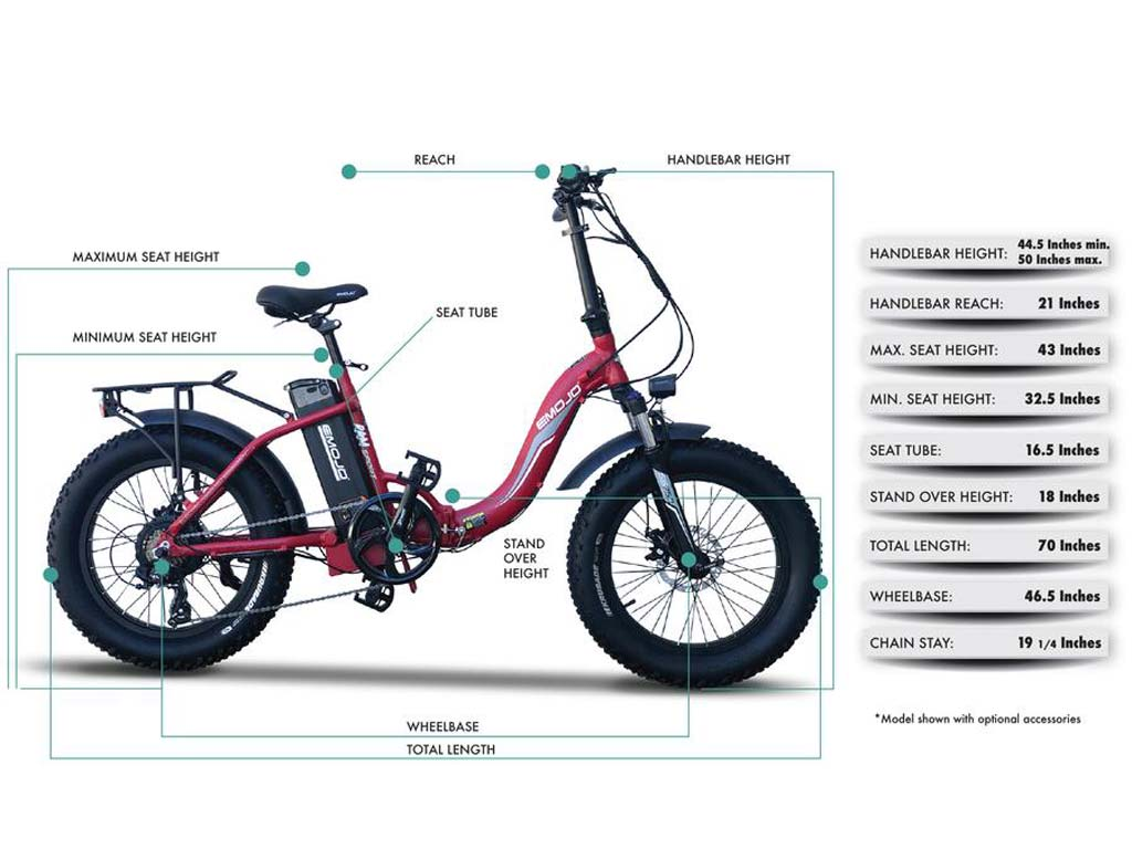 EMOJO RAM Sport electric bike Dimensions
