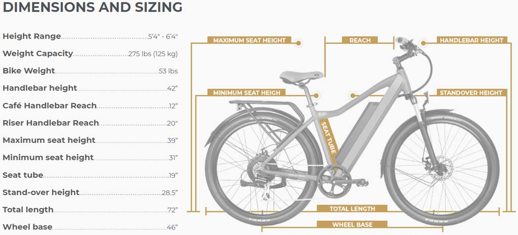 Ride1UP-Series-500-Electric-Bike-Dimension-Sizing
