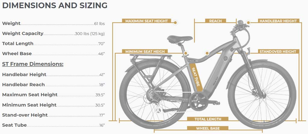 Ride1UP-Series-700-Electric-Bike-ST-Electric-Bike-Dimenions-Sizing