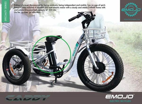 EMOJO Caddy Trike Electric Fat Tire Tricycle flyer battery