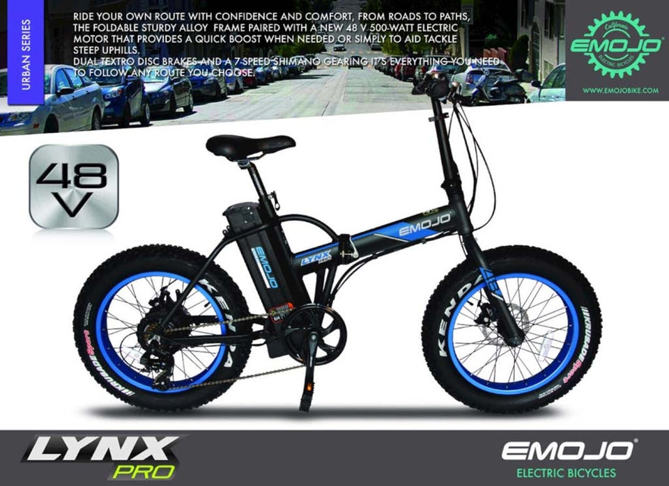 Emojo Lynx Pro 48v 500w 20 Fat Tire Folding Electric Bike