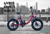 EMOJO RAM Sport Folding Low Step Fat Tire Electric Bike Red Ride
