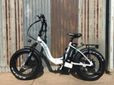 EMOJO RAM Sport Folding Low Step Fat Tire Electric Bike White Outdoors
