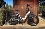 EMOJO RAM Sport Folding Low Step Fat Tire Electric Bike White Silo