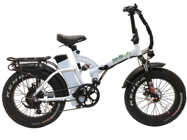Green Bike USA GB500 Fat Tire Folding Electric Bike white