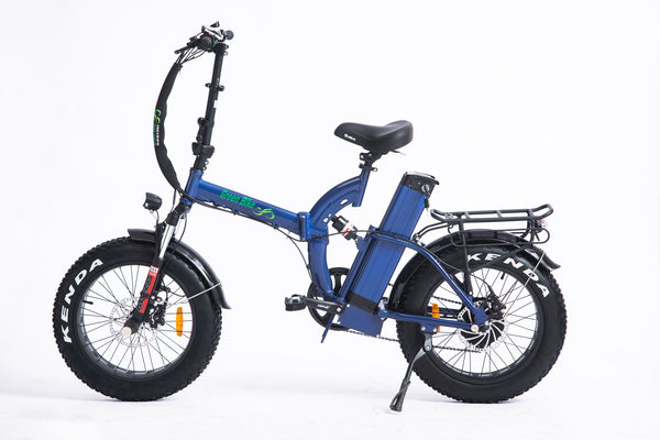 Green Bike USA GB750 Fat Tire NEXT Folding Electric Bike Blue