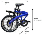 ProdecoTech Mariner Folding 500 Electric Bike Folded Dimensions