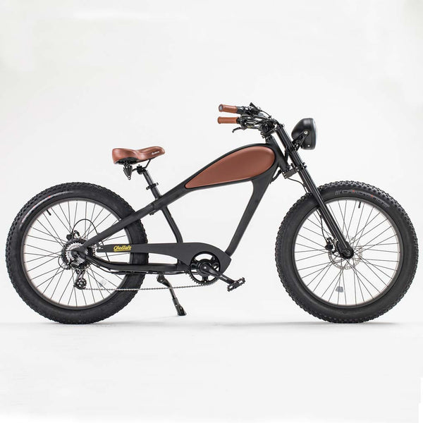 Revi Bikes Civi Bikes Cheetah Cafe Racer Electric Bike Night Black Leather