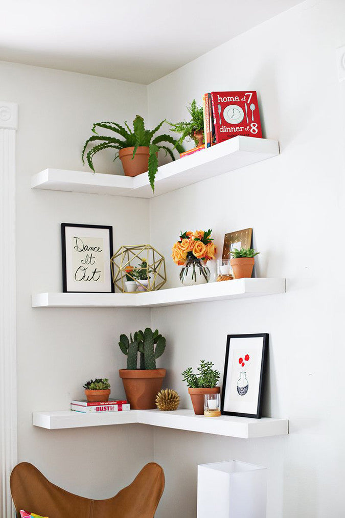 The Way These DIY Floating Corner Shelves Are Painted The Same Color As The  Walls Really Allows Them To Let The Decor Shine. Decorate Them With Art  Prints, ...