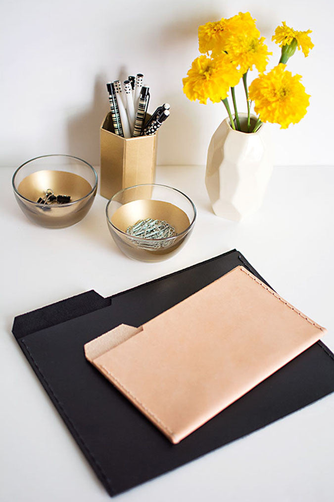 DIY Leather File Folders by Homey Oh My