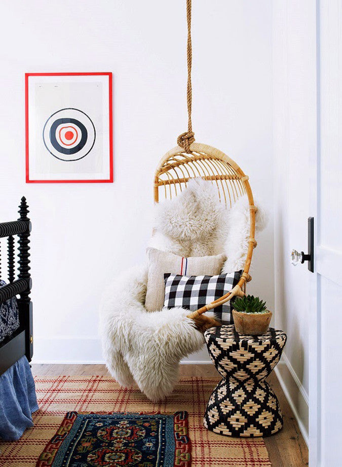 Buffalo Plaid Pillow in Hanging Chair