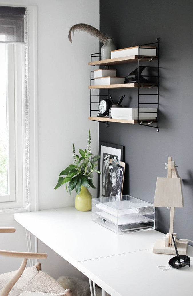 Charcoal Accent Wall in Home Office