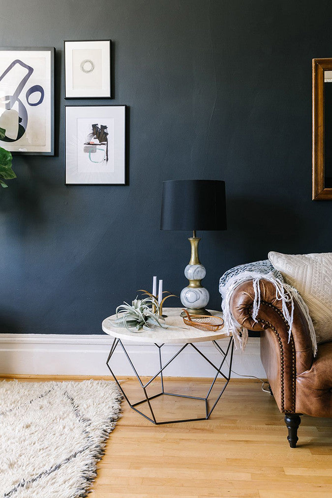 Charcoal Walls in Living Room
