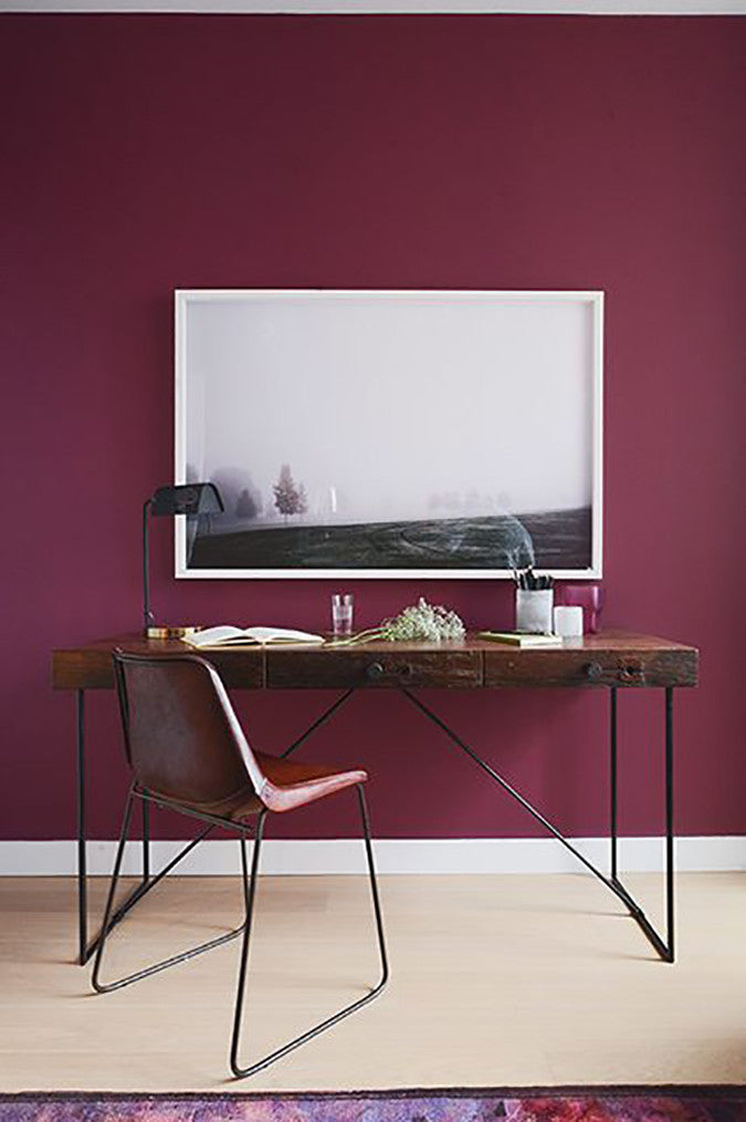 Workspace with Burgundy Wall