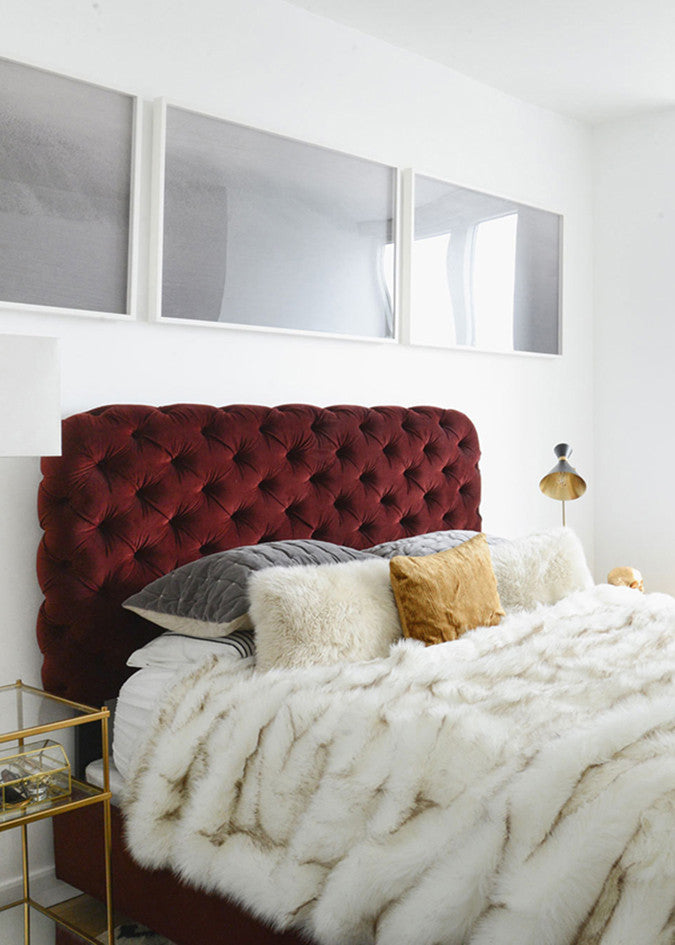 Bed with Burgundy Headboard