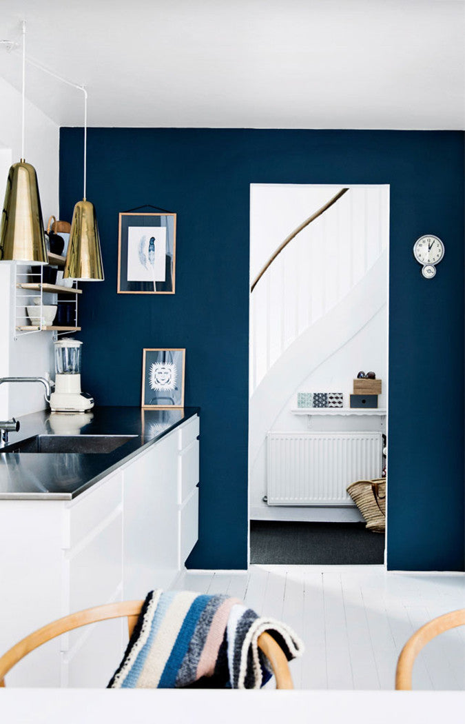 Kitchen With Blue Wall