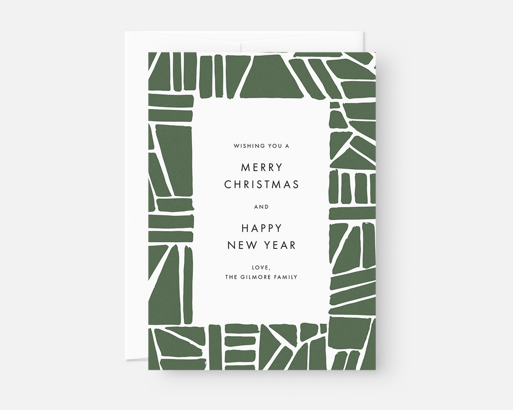 Custom Christmas Cards Boxed Set / Holiday Card Set with Green ...