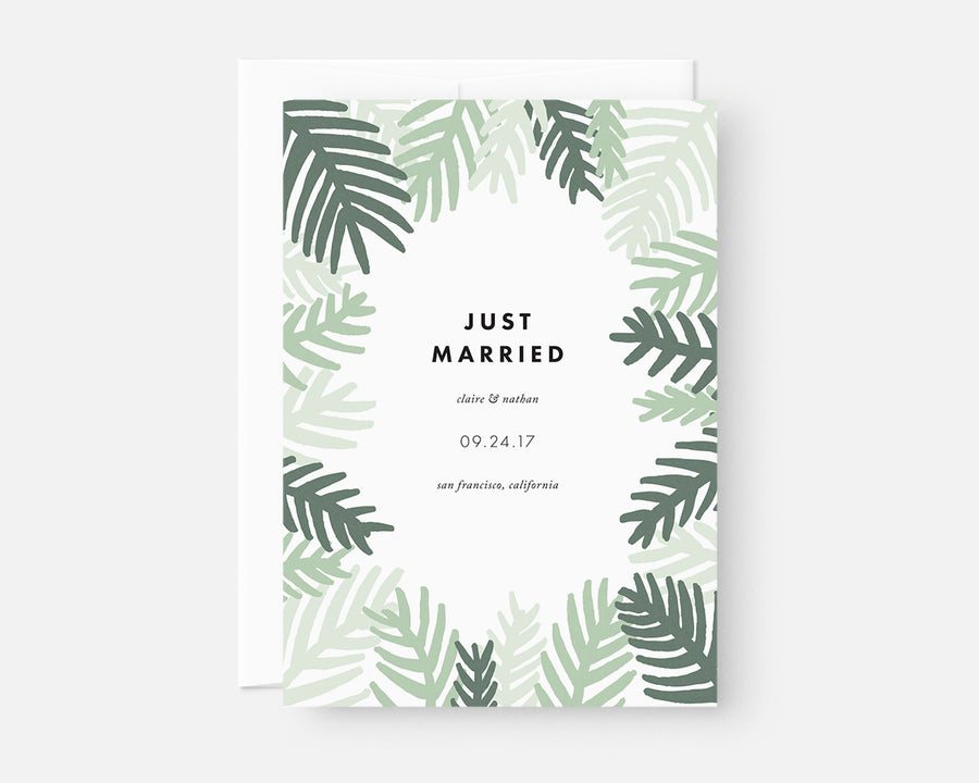 Green Palm Leaf Elopement Announcement