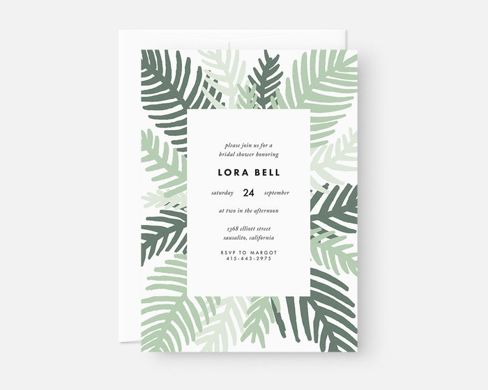Palm Leaf Invitation - Green