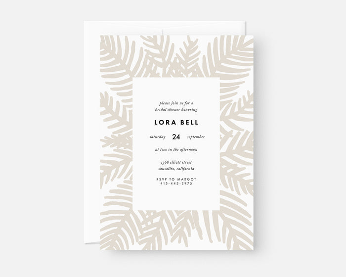 Palm Leaf Invitation - Taupe