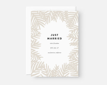Neutral Palm Leaf Elopement Announcement