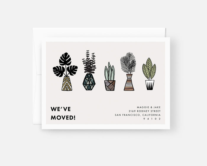 Moving Announcement Card with Plant Illustrations