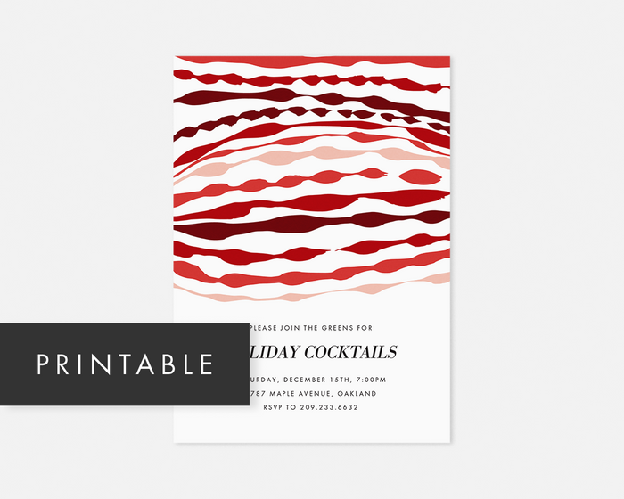 Ripple Invitation - Red [Printable]