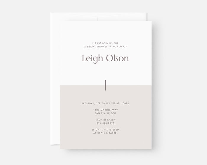 Color Block Invitation - Taupe