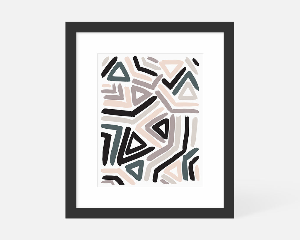 pastel abstract art print with black frame