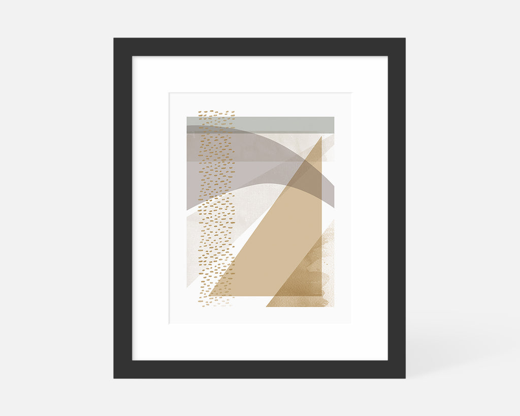 muted abstract geometric art print with black frame