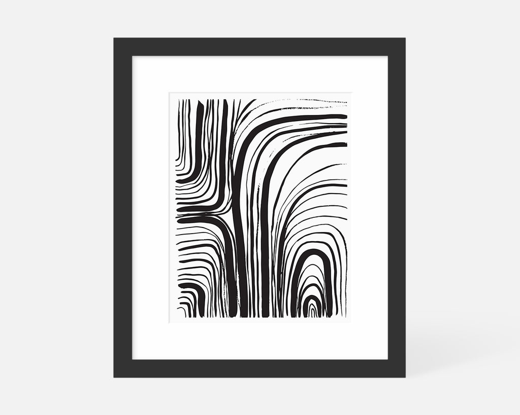 black and white abstract art print with black frame