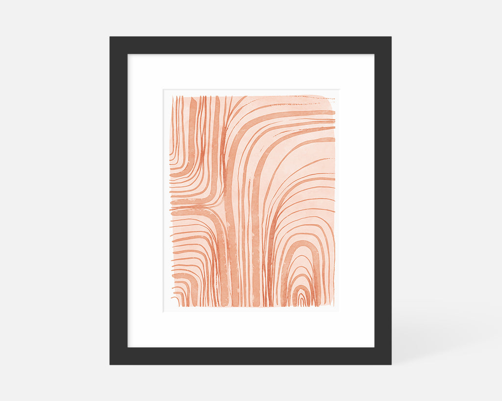 coral abstract art print with black frame