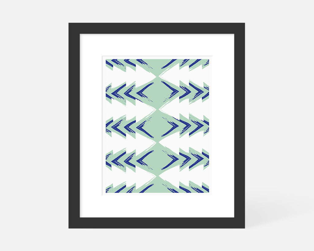 blue and green mid century modern art print with black frame