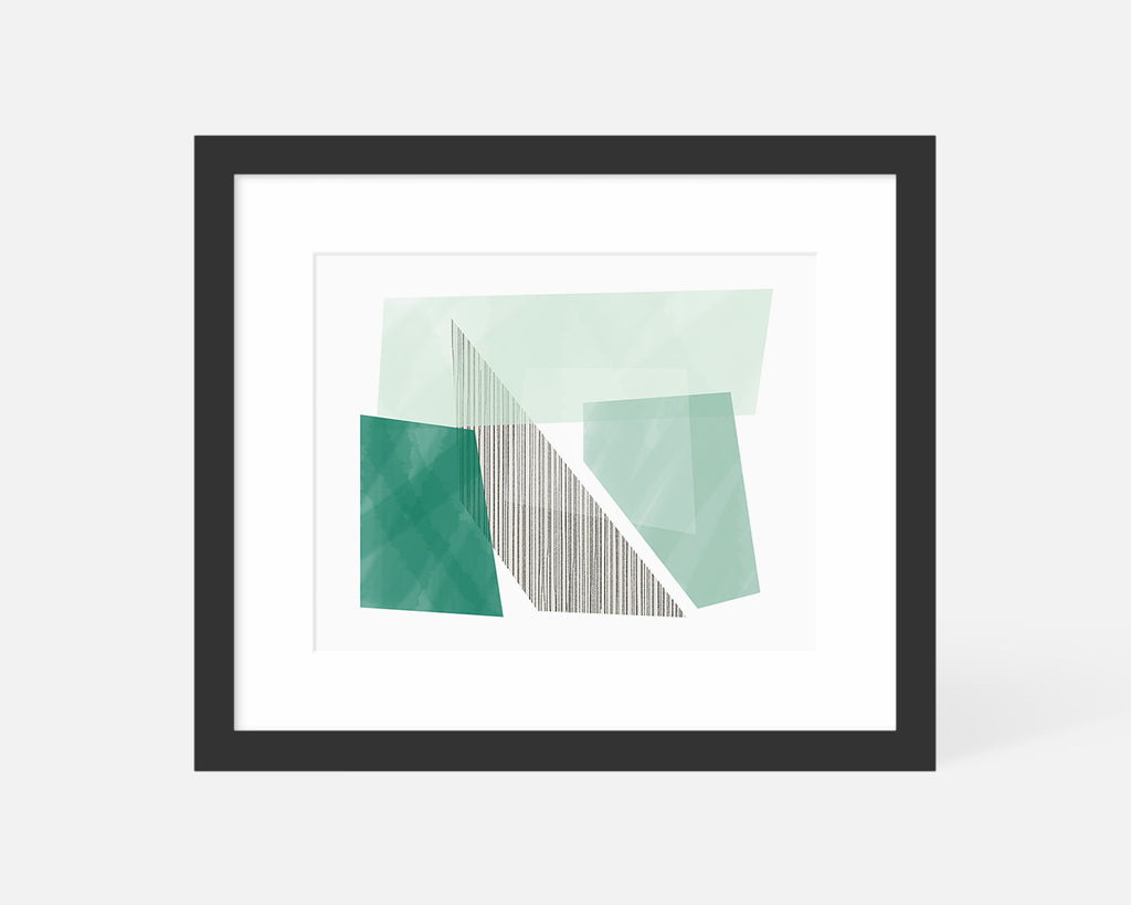 green Mid Century Modern art print with black frame
