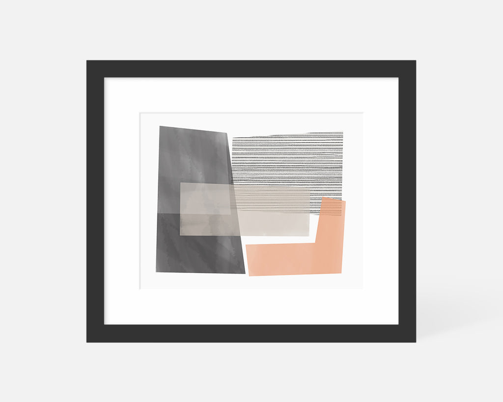pink and gray Mid Century Modern art print with black frame