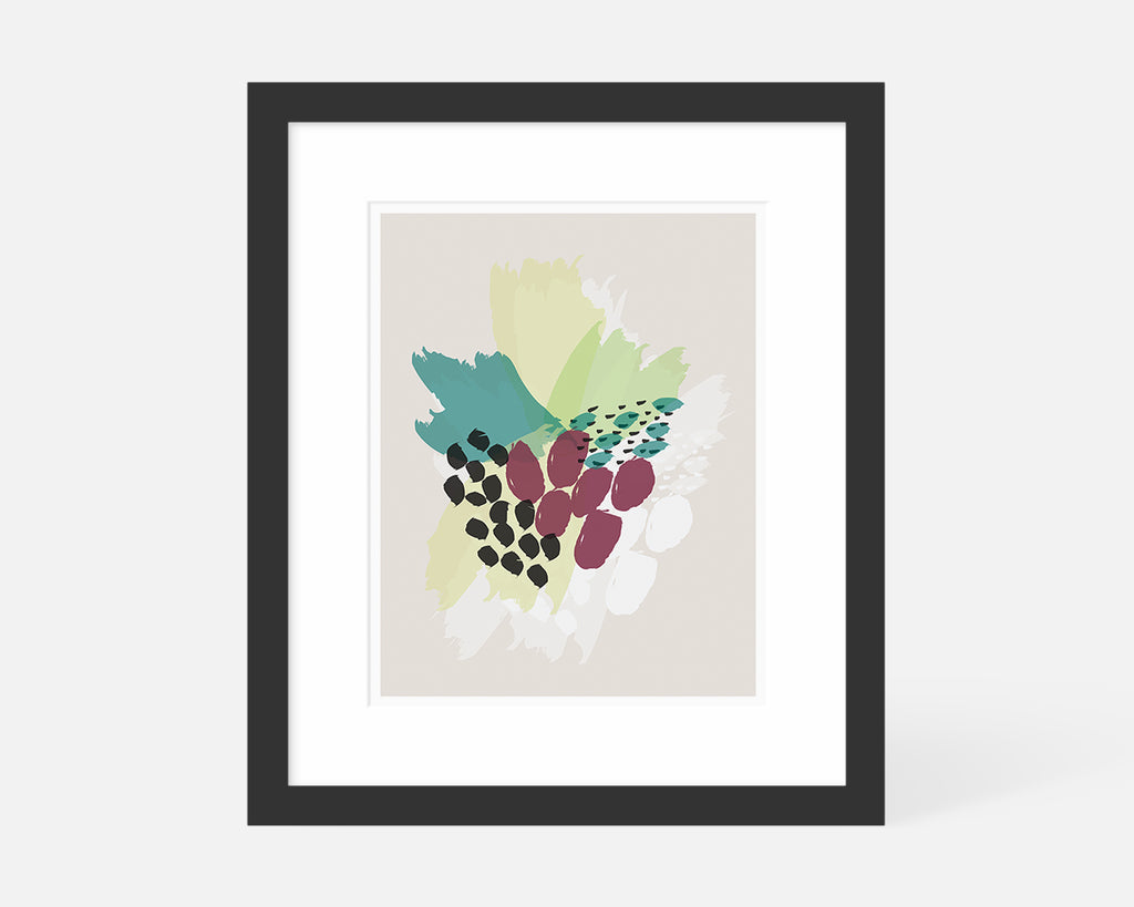 purple and green abstract floral art print with black frame