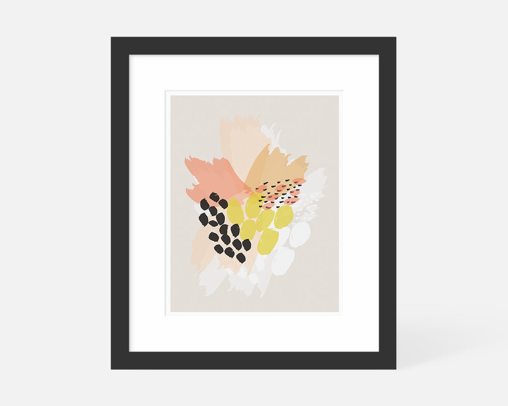 pink orange and yellow abstract floral art print with black frame