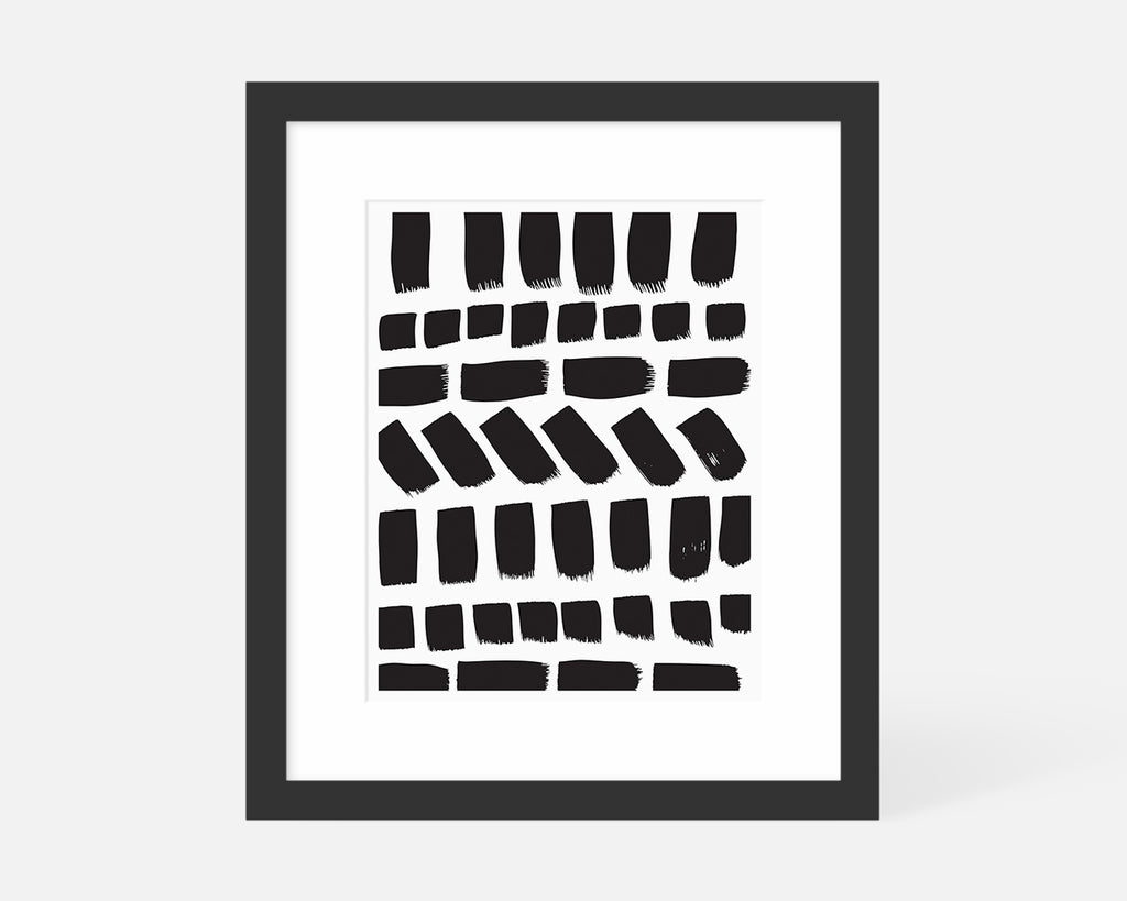 black and white minimalist art print with black frame