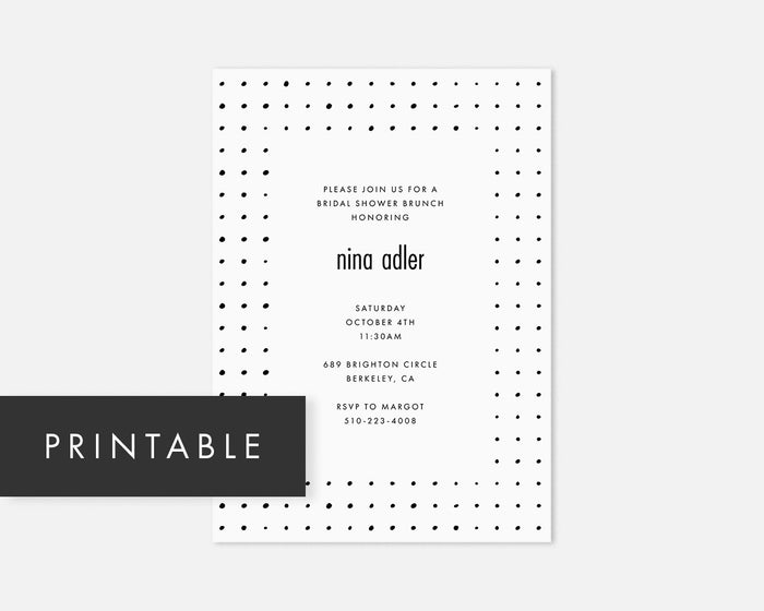 Dots Invitation - Black [Printable]