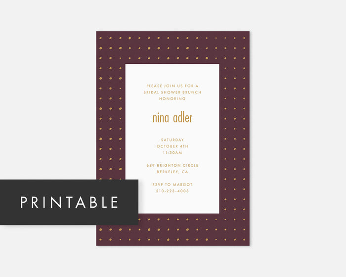 Dots Invitation - Burgundy [Printable]