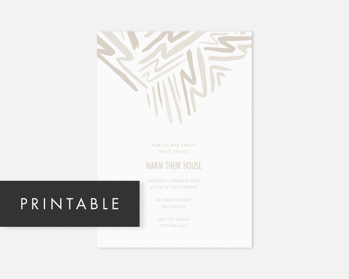 Lightning Invitation - Taupe [Printable]