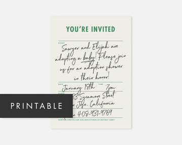 Memo Invitation - Green [Printable]