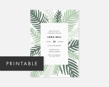 Palm Leaf Invitation - Green [Printable]