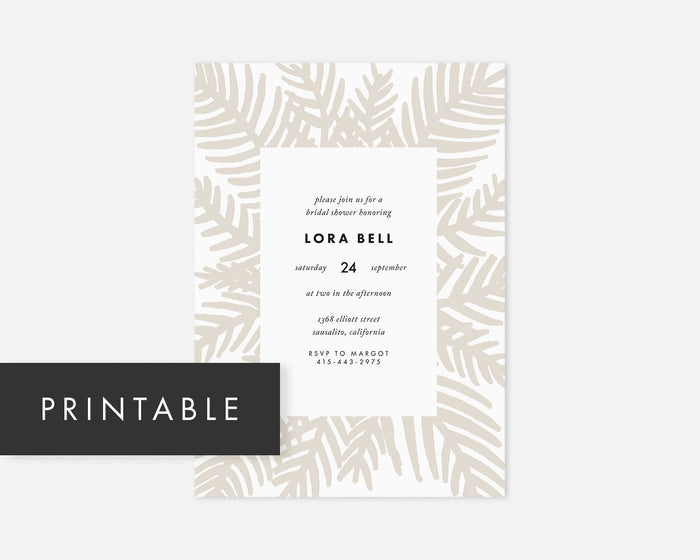 Palm Leaf Invitation - Taupe [Printable]
