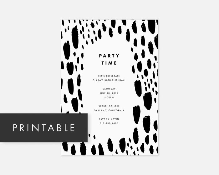 Spotted Invitation - Black [Printable]