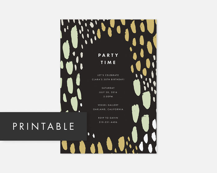 Spotted Invitation - Green [Printable]